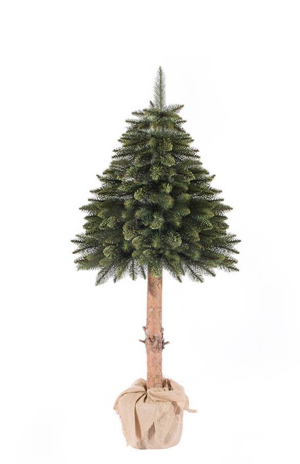Albero di Natale artificiale abete su tronco verde