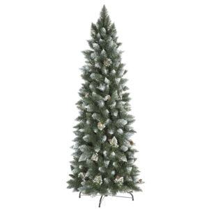 Albero di Natale artificiale Pino naturale innevato slim