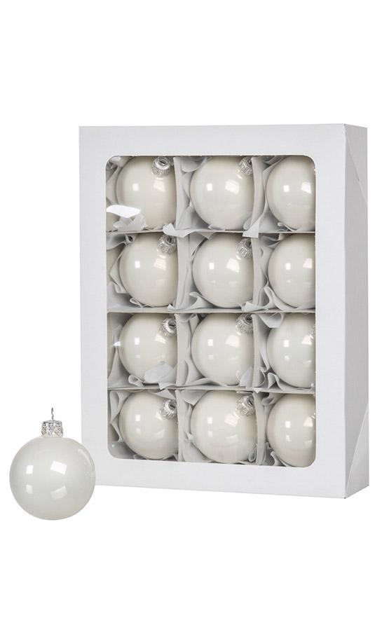 Sfere di Natale bianche 12 pz 6 cm