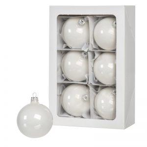 Sfere di Natale bianche 6 pz 8 cm